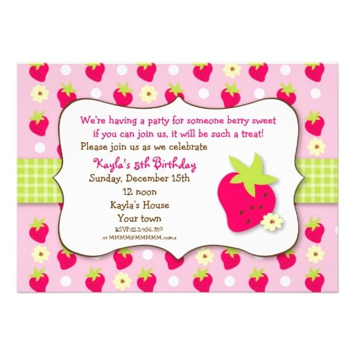 Strawberry Shortcake Birthday Invitation Template Free