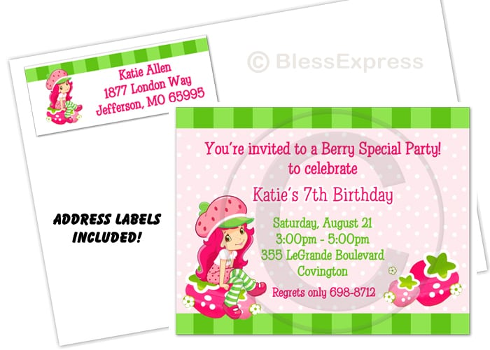 Strawberry Shortcake Birthday Party Invitation