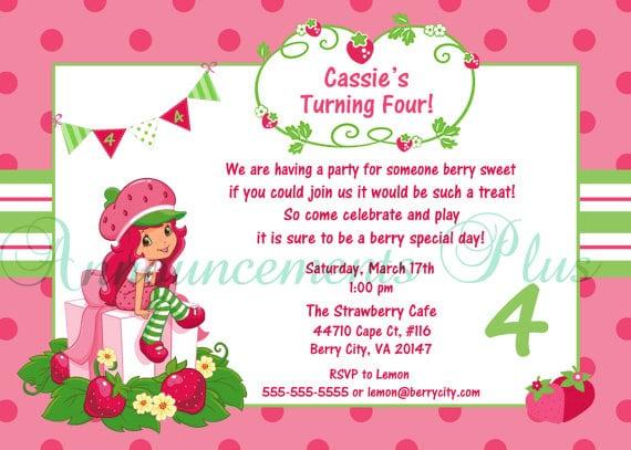 Strawberry Shortcake Birthday Party Invitation Wording
