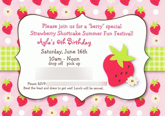 Strawberry Shortcake Invitation Wording