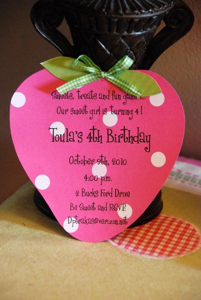 strawberry birthday invitation - 690×1031