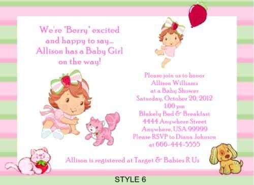 Strawberry Shortcake Invitations For Baby Shower