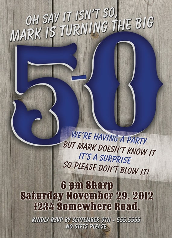 Surprise 50th Birthday Invitations For Him