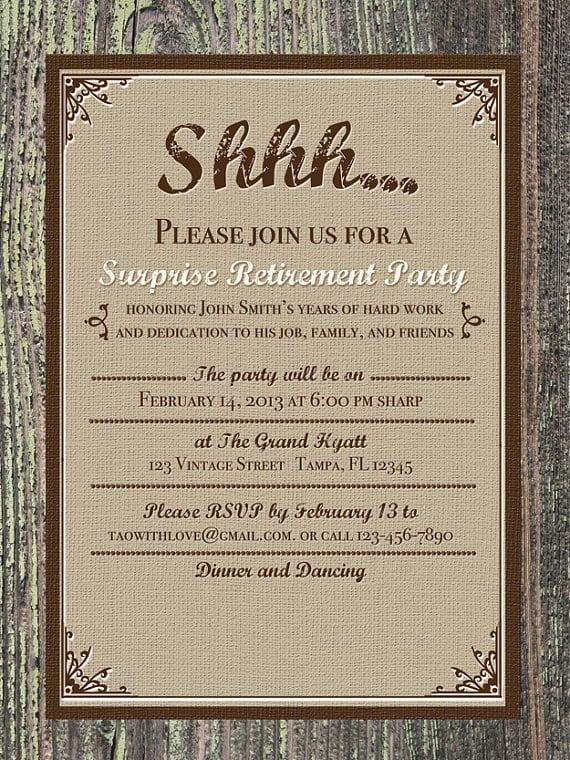 Surprise Retirement Party Invitation Template