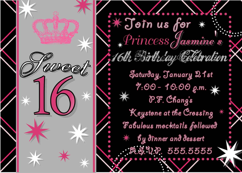 Sweet 16 Birthday Party Invitation Templates