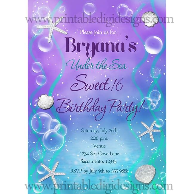 Sweet 16 Printable Invitation