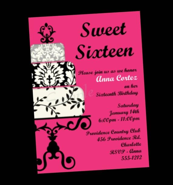 Sweet 16 Printable Invitations