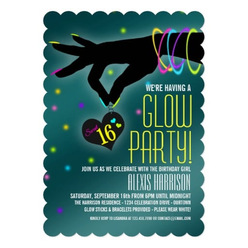 Sweet Sixteen Glow Party Invitation Template