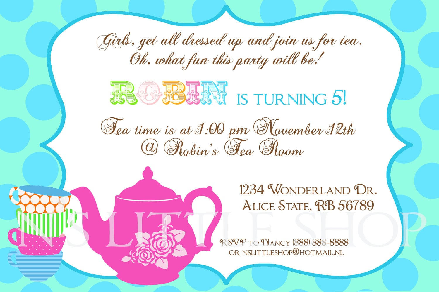 Tea party invitation template for kids for Tea party menu template