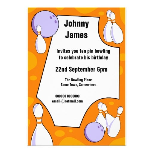 Ten Pin Bowling Party Invitation