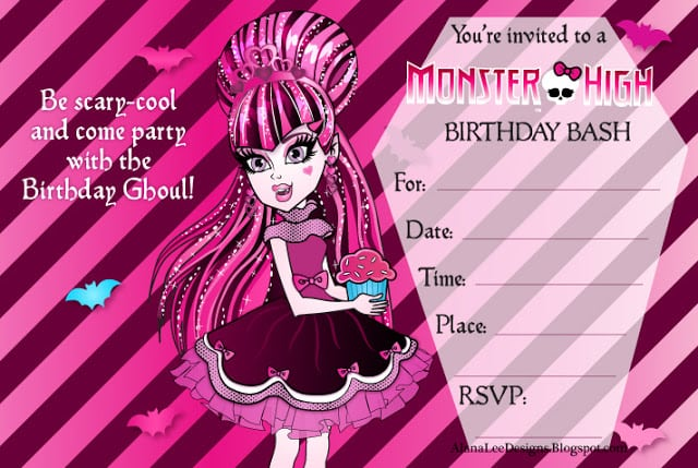 Ticket Birthday Party Invitations Printable Monster High Free