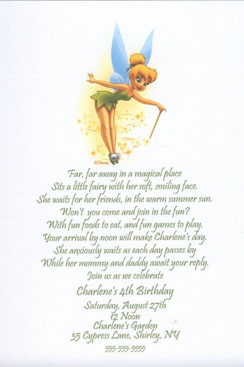 Tinkerbell Birthday Party Invitation Templates