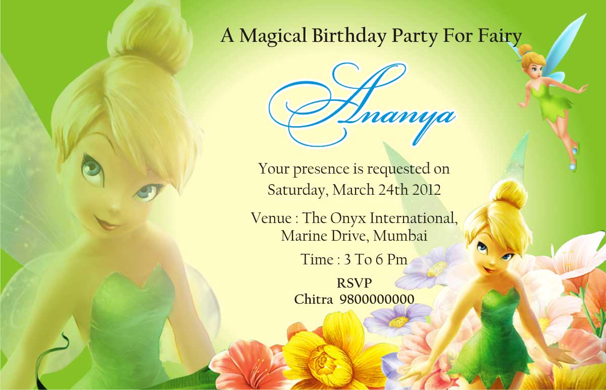 Tinkerbell Invitation Card