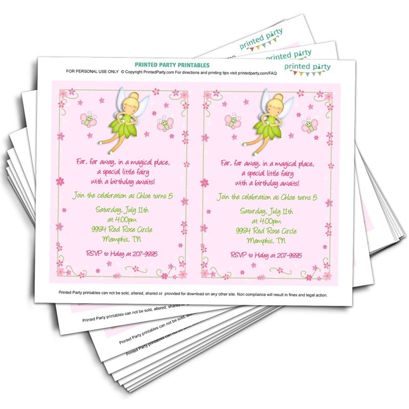 Tinkerbell Invitation Pdf