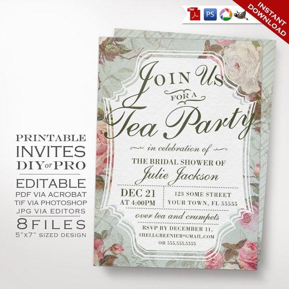 Vintage Tea Party Invitation Template