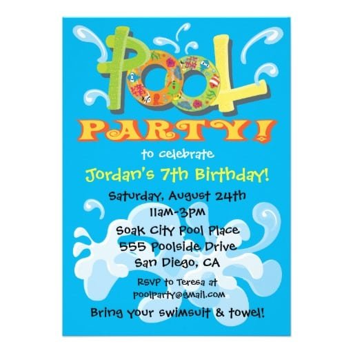 pool party invitations templates free - word pool party invitation template