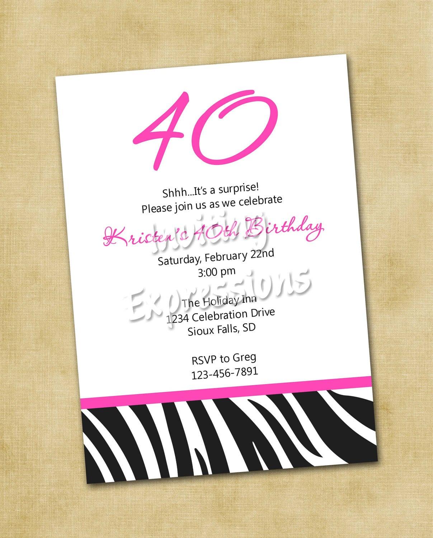 Wording For 40th Birthday Invitation