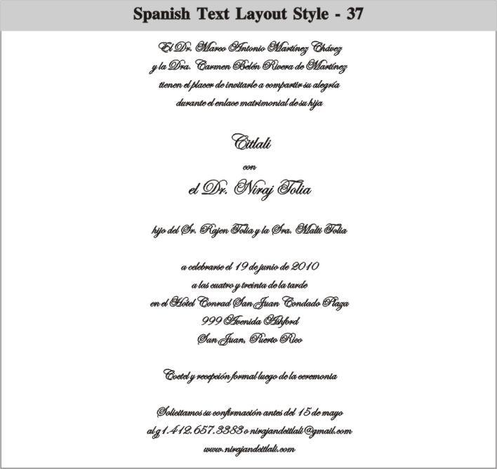 Wordings For Wedding Invitations In Spanish