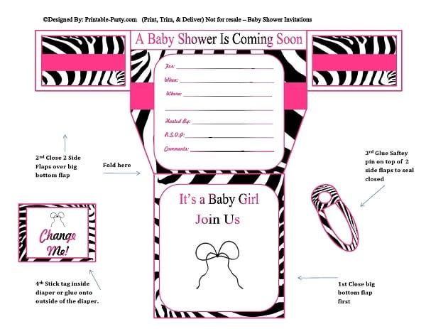 Zebra Baby Shower Invitation Templates