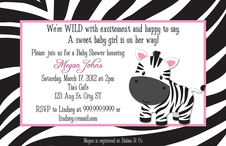 Zebra Baby Shower Invitation Wording