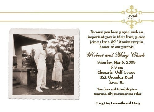 Wedding Anniversary Invitation Message: 50th Wedding Anniversary Invitation Template Free
