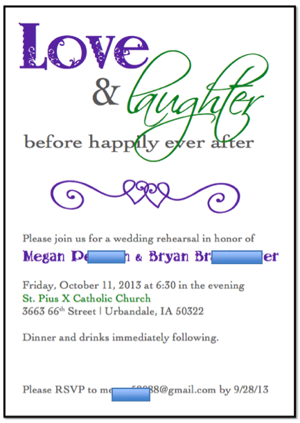 free template for rehearsal dinner invitation. Black Bedroom Furniture Sets. Home Design Ideas