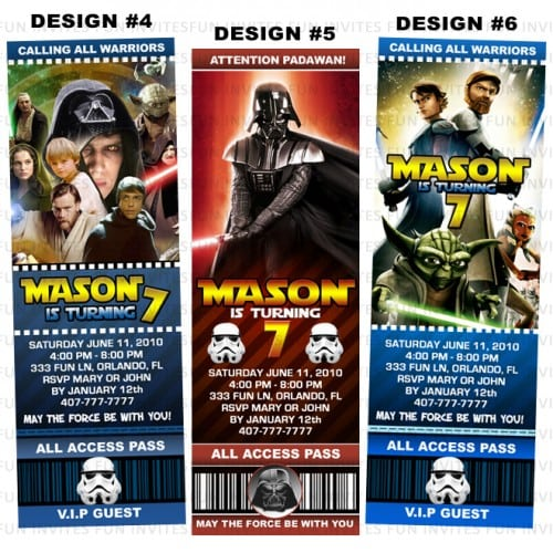 Printable Star Wars Birthday Party Invitations