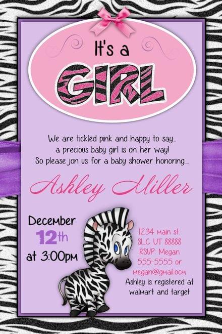zebra baby shower invitation