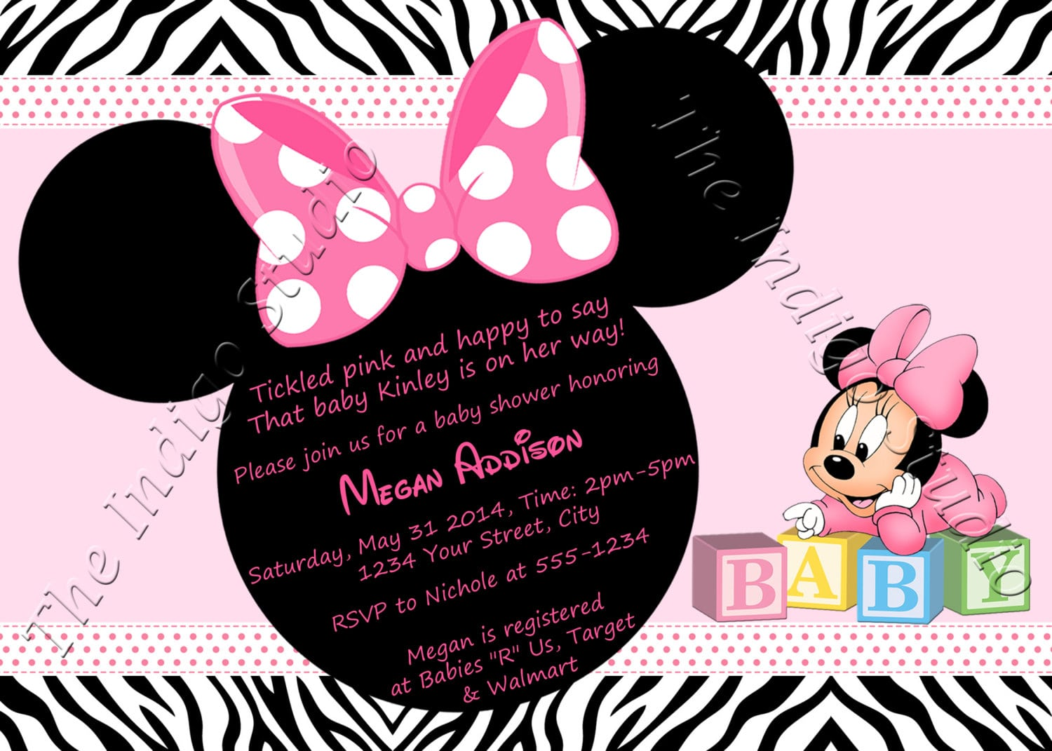 zebra print minnie mouse baby shower invitations
