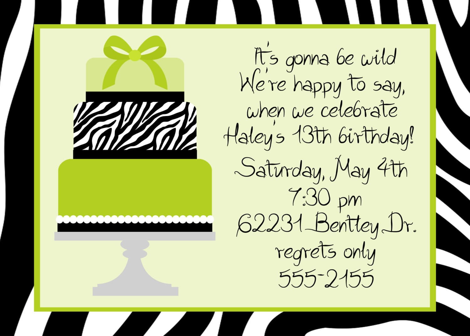 13 Birthday Party Invitation