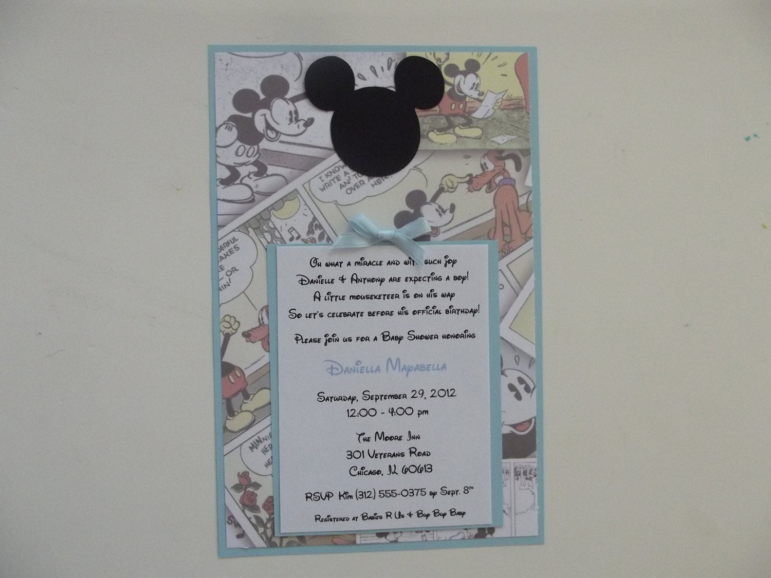 Baby Mickey Mouse Invitation For Christening