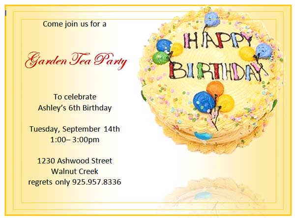 Birthday Invitation Card Template Word