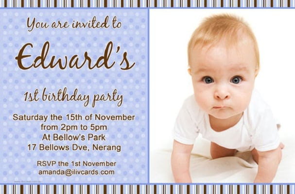 Bday invitation card for 1 year stopboris Images