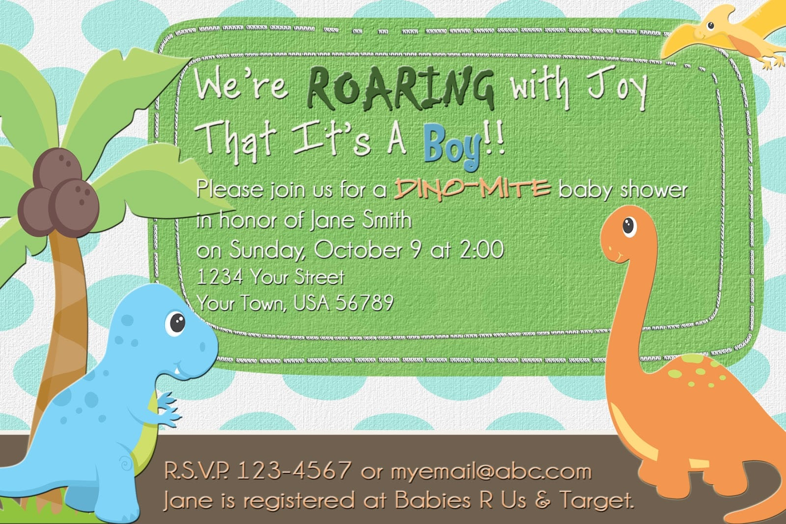 Challenger image with regard to free printable dinosaur baby shower invitations