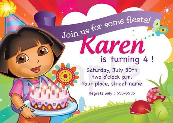 dora birthday invitation sample, Birthday invitations