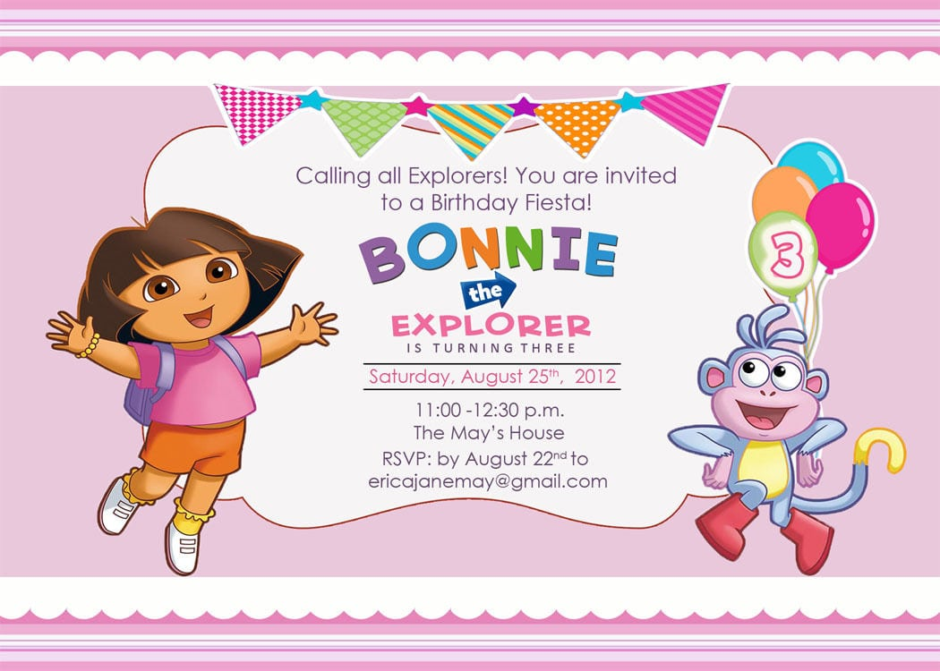 Dora The Explorer Birthday Invitations Free
