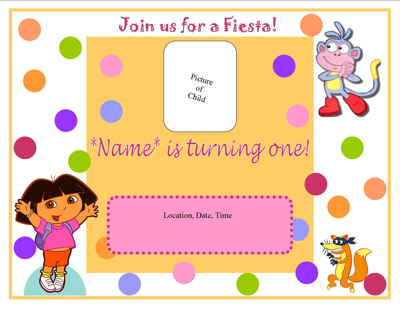 Dora Birthday Invitation Sample