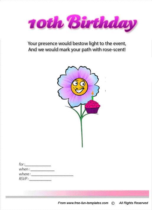 free 10 year old girls birthday invitation