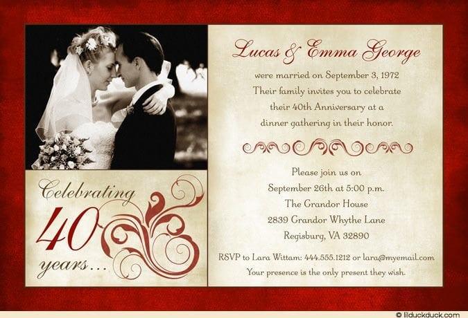 free wedding anniversary invitation templates