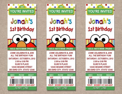 elmo design invitation cards, Birthday invitations