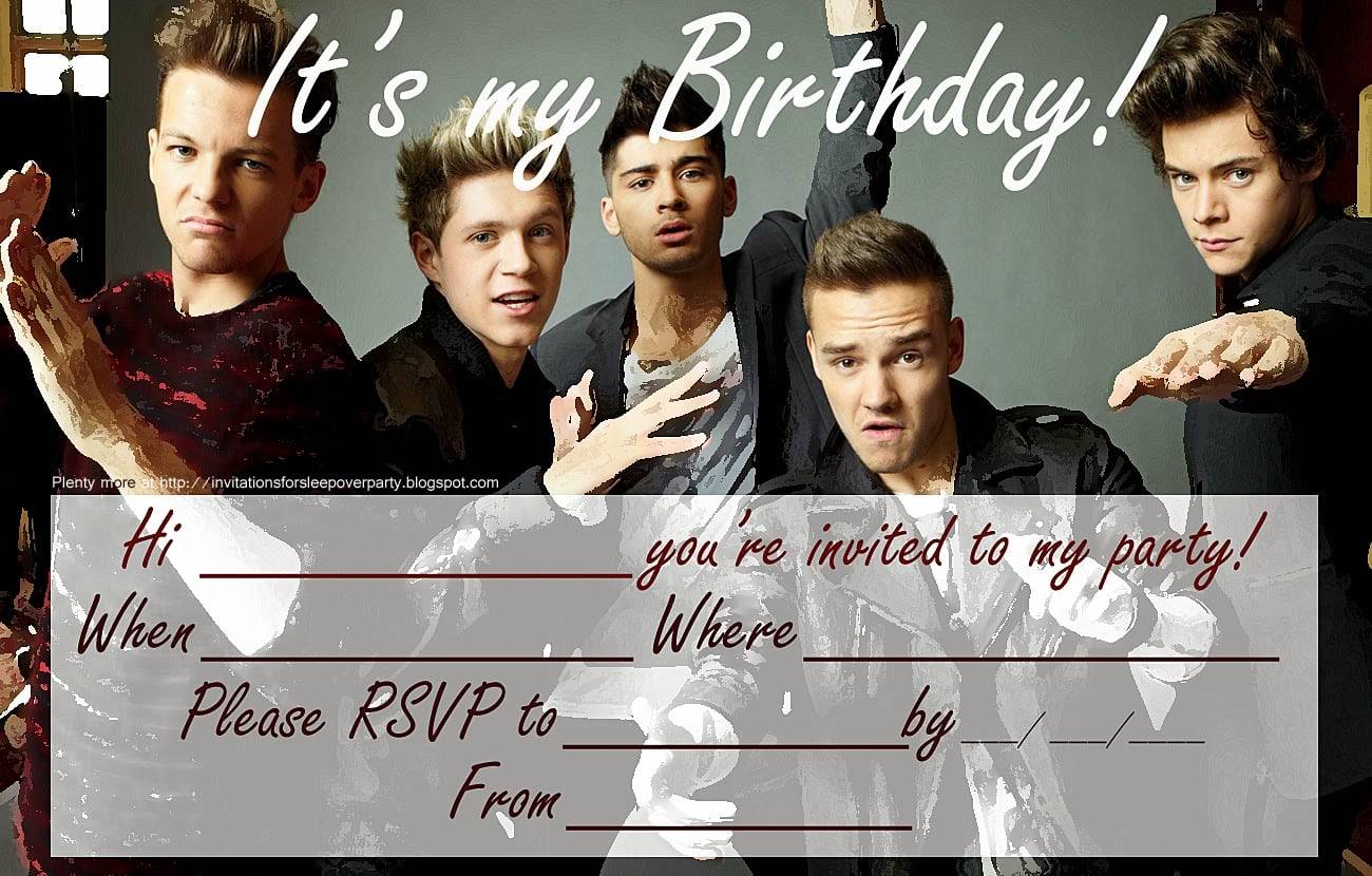 Free One Direction Party Invitation Templates