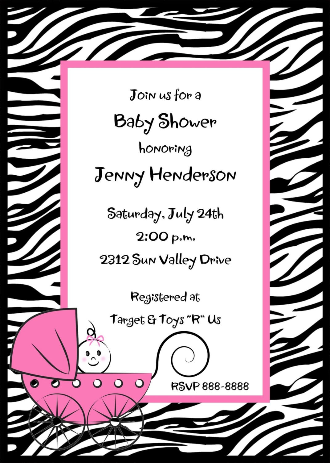 Free pink zebra baby shower invitation template invitationswedd pink zebra baby shower invitation template filmwisefo