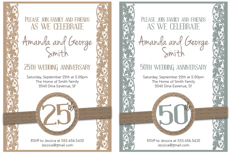 Free Printable 50th Anniversary Invitations
