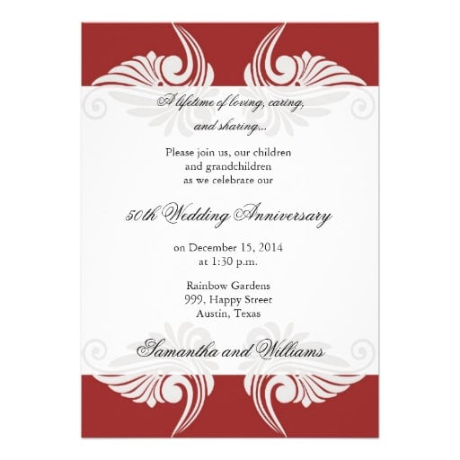 Free Printable 50th Wedding Anniversary Invitations