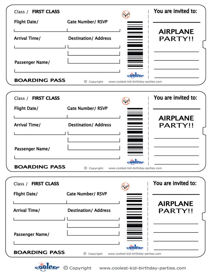 Free Printable Airline Ticket Invitations