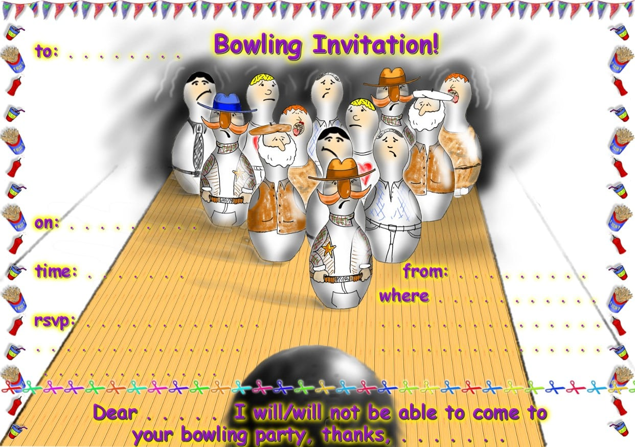 Free Bowling Party Invitation Printable