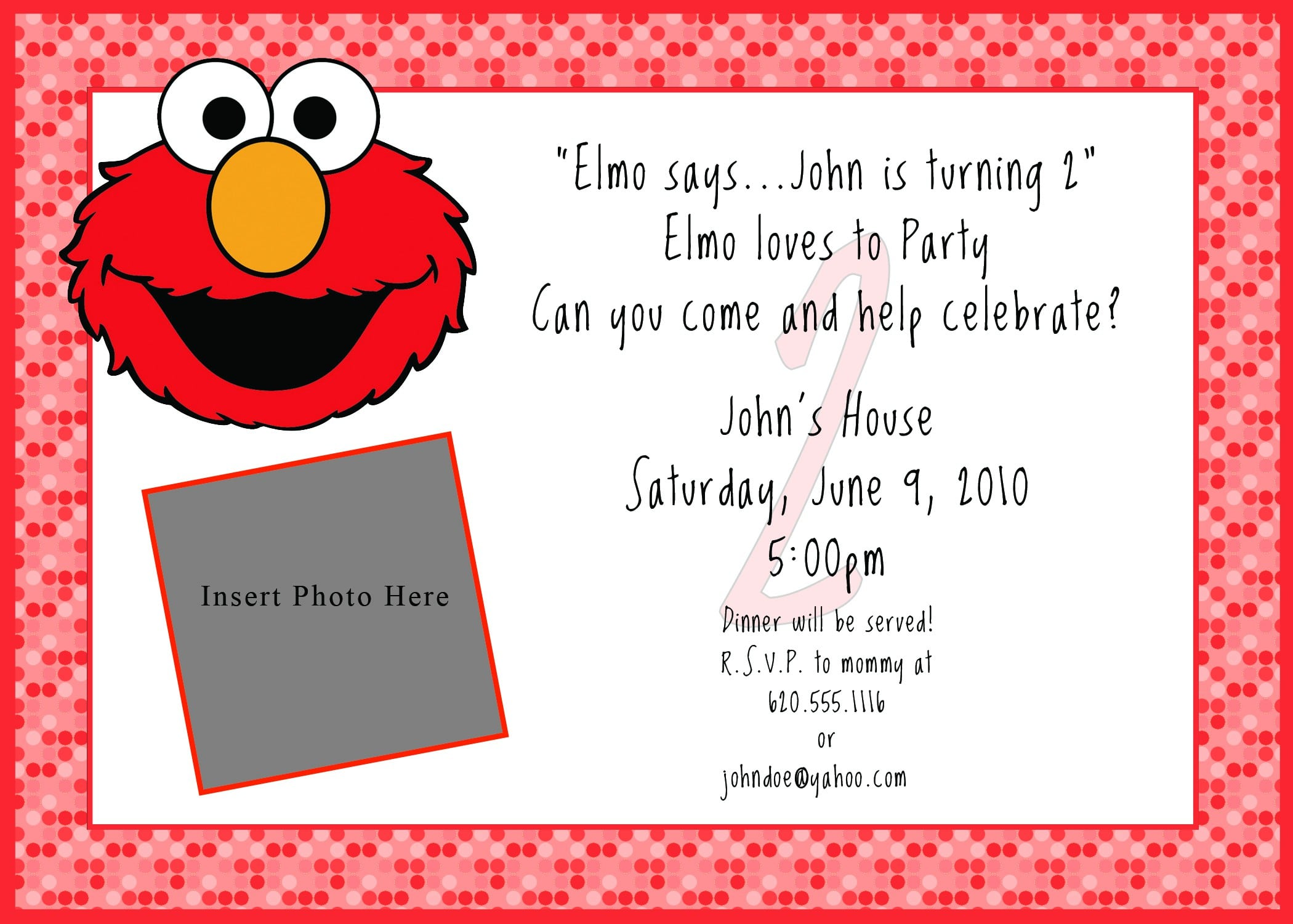 Printable free elmo invitation for Elmo template for invitations
