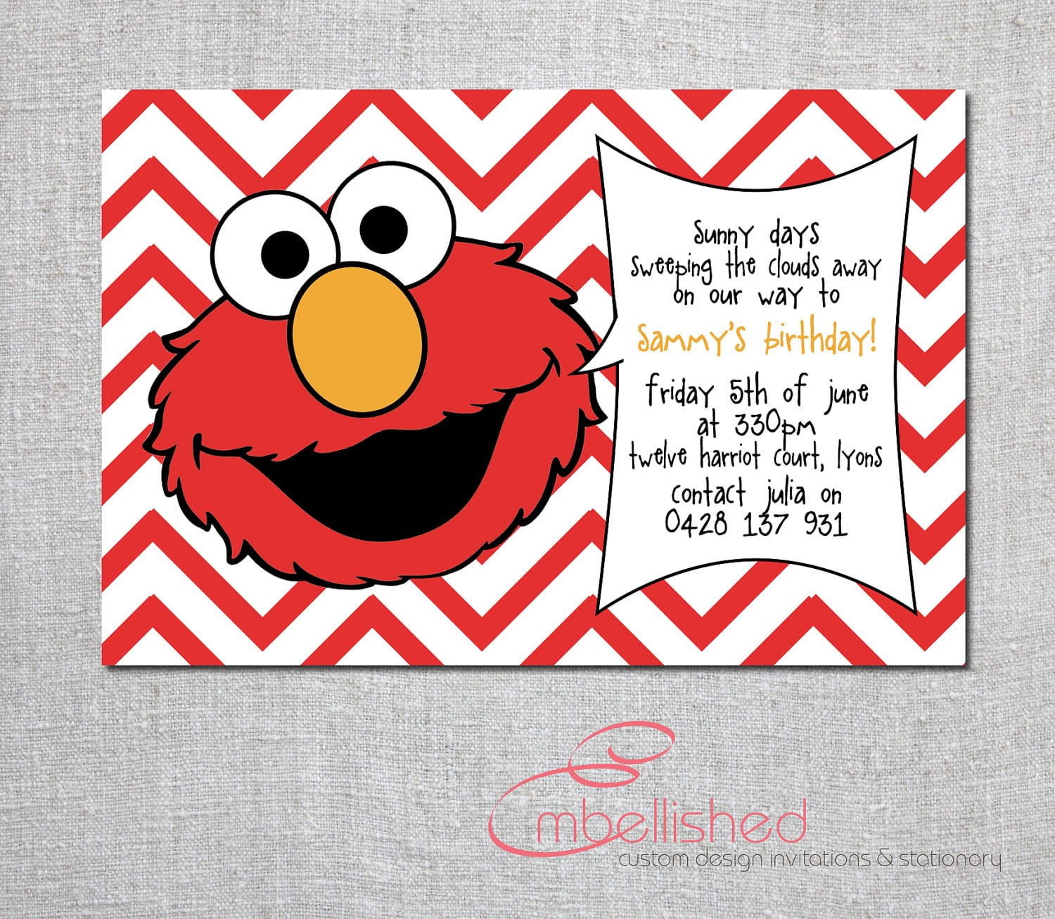 Printable Free Elmo Invitation – Elmo Birthday Card