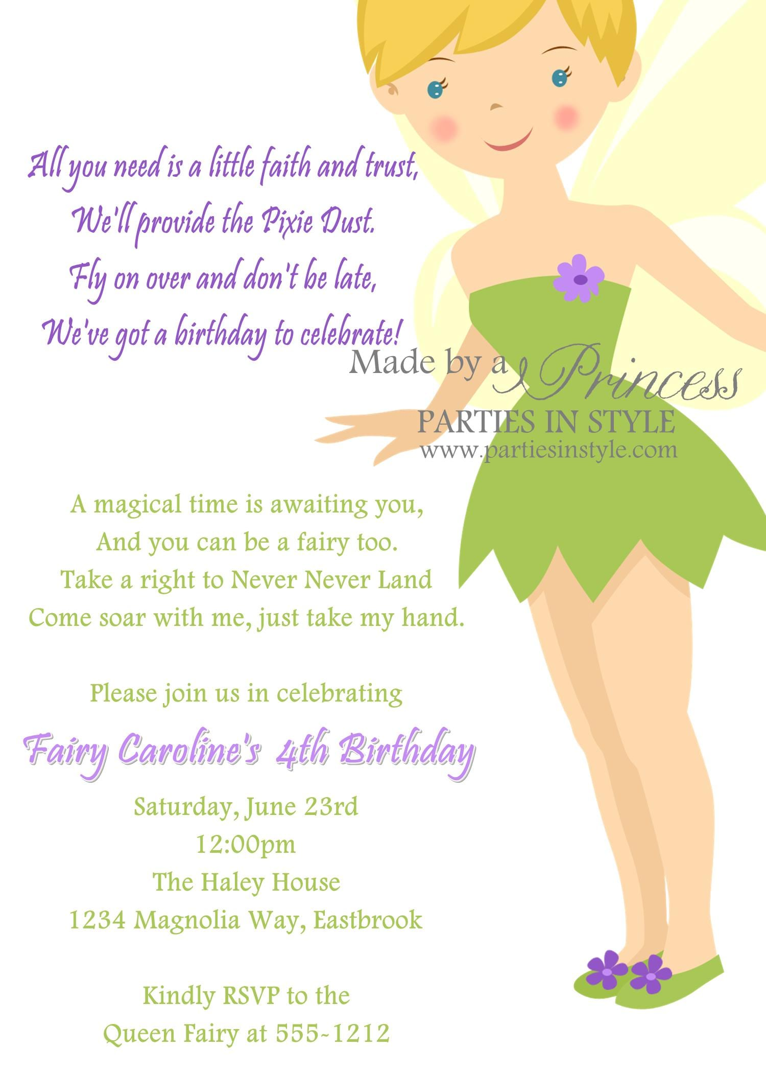 Free Tinkerbell Template Invitation