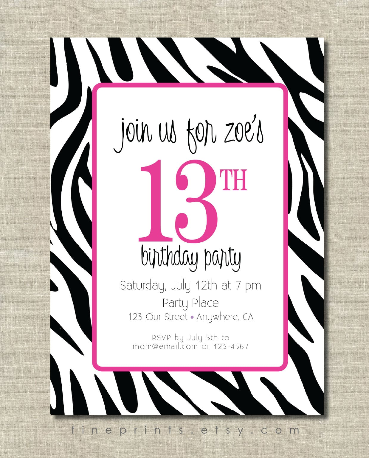 Free Printable Zebra Print Birthday Invitation